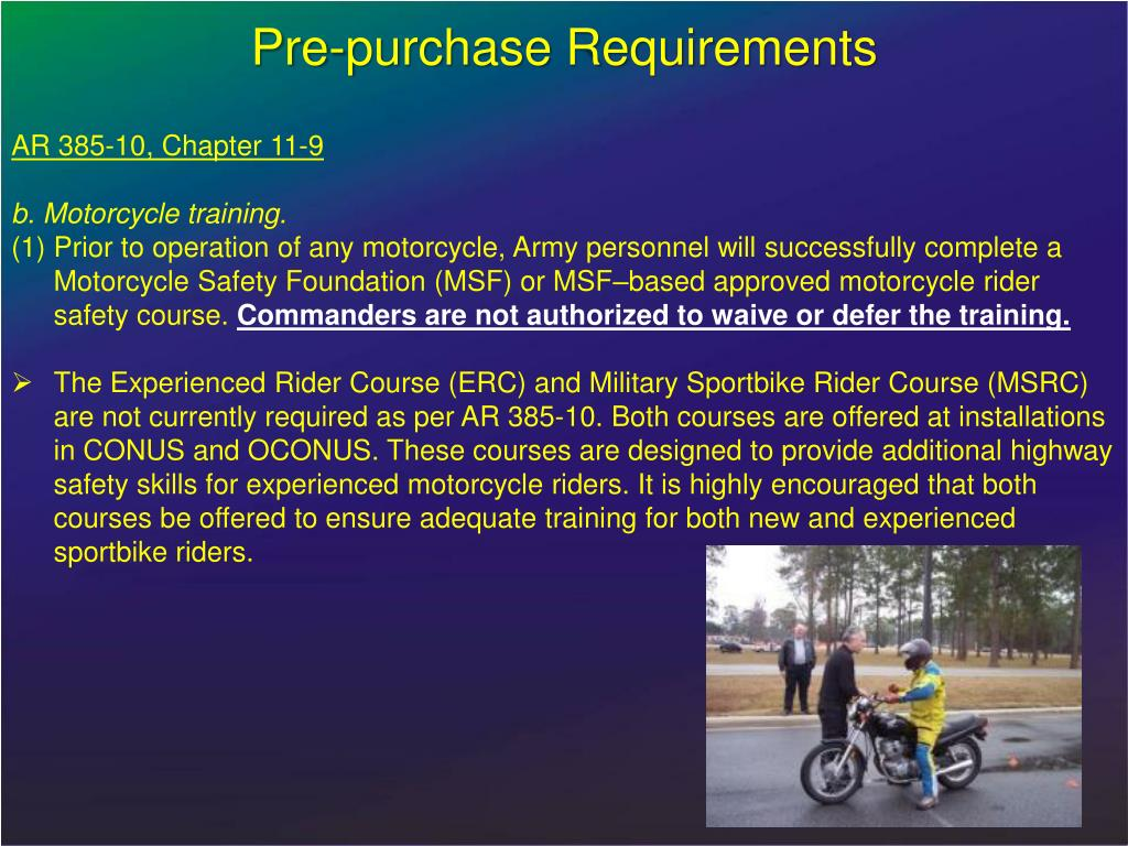 Pre-purchase Requirements