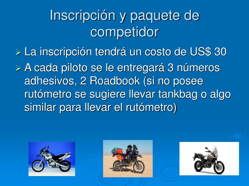 Inscripción y paquete de competidor