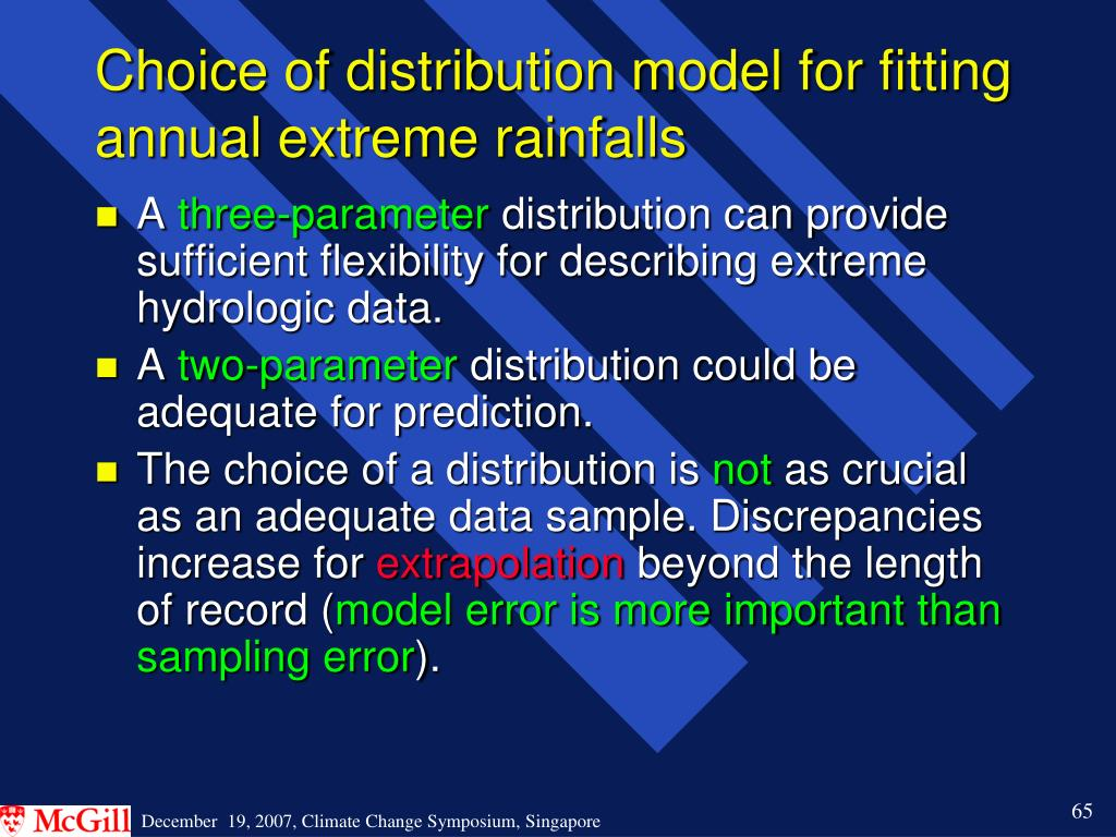 Choice of distribution model for fitting annual extreme rainfalls