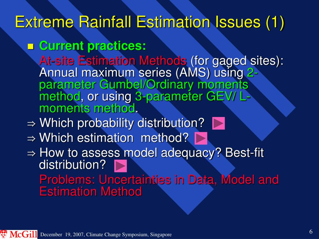 Extreme Rainfall Estimation Issues (1)