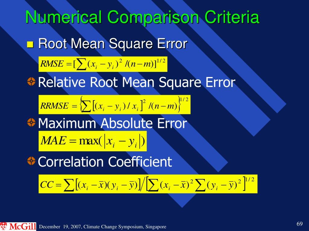 Numerical Comparison Criteria