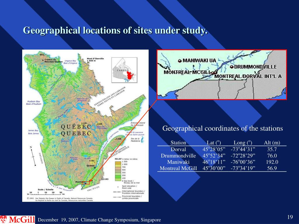 Geographical locations of sites under study.
