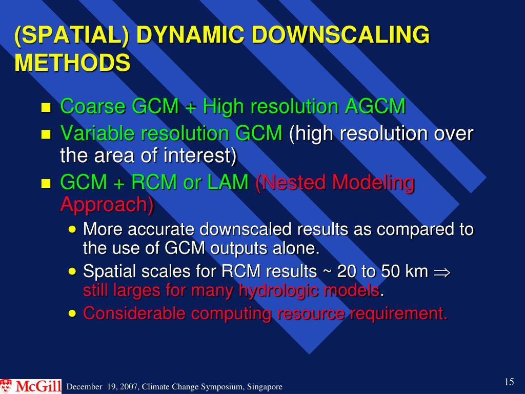 (SPATIAL) DYNAMIC DOWNSCALING METHODS