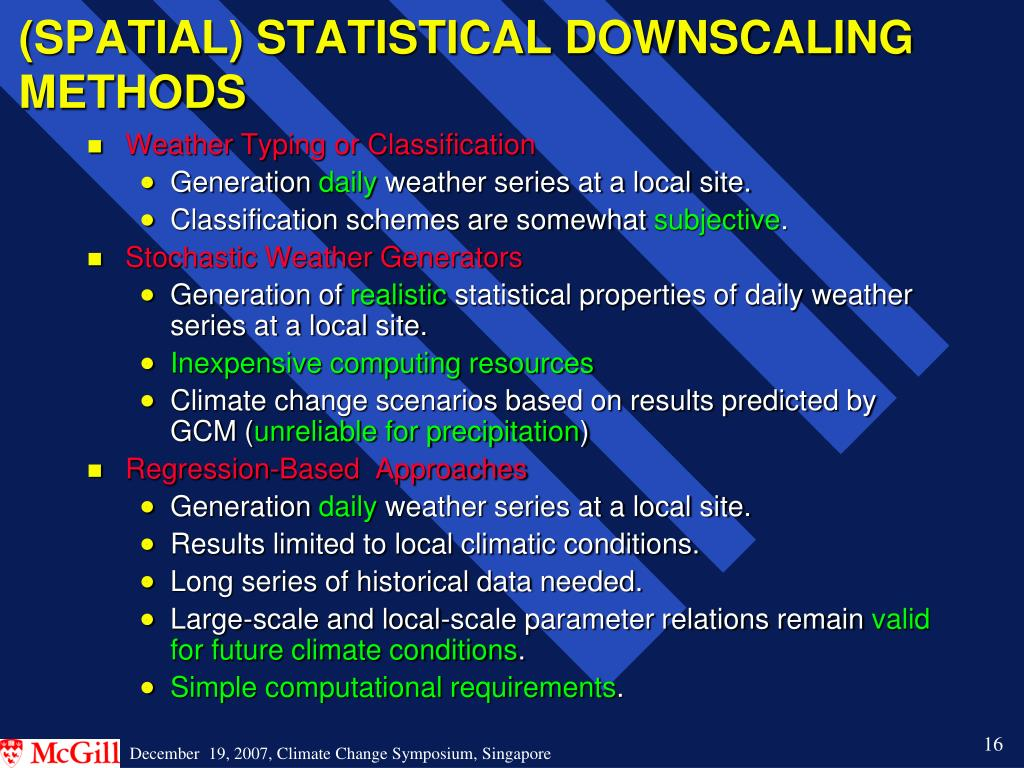 (SPATIAL) STATISTICAL DOWNSCALING METHODS