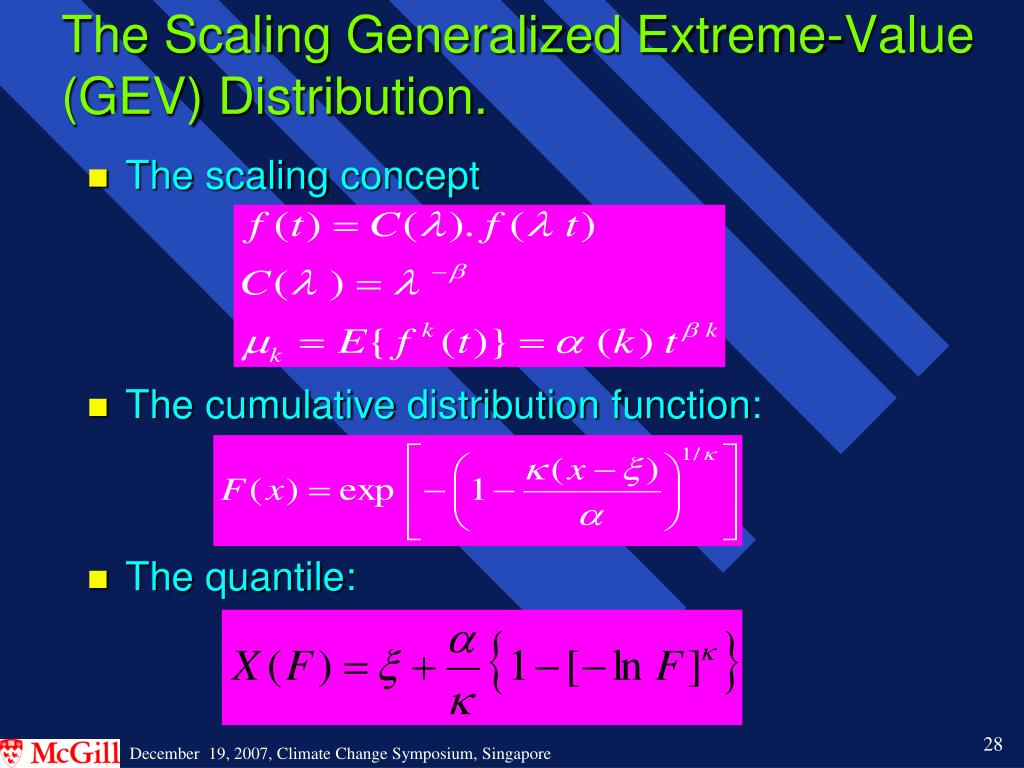 The Scaling Generalized Extreme-Value (GEV) Distribution.