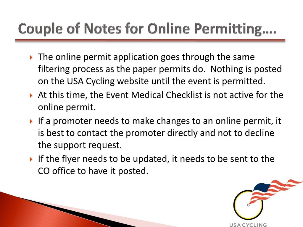 Couple of Notes for Online Permitting….