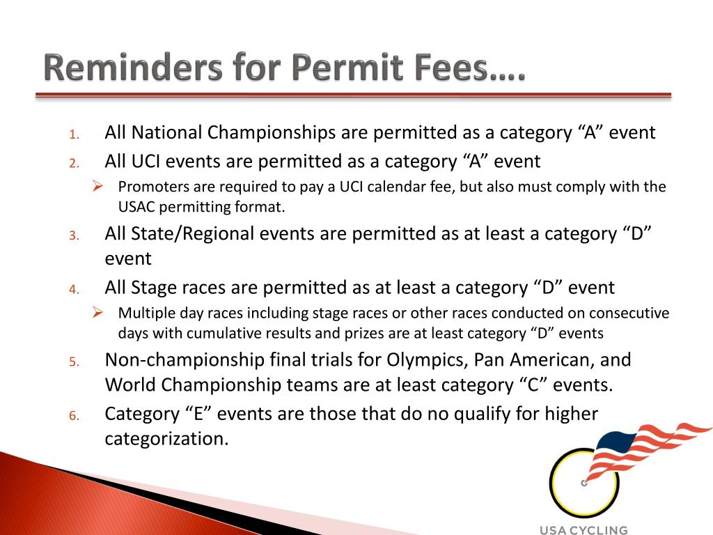 Reminders for Permit Fees….