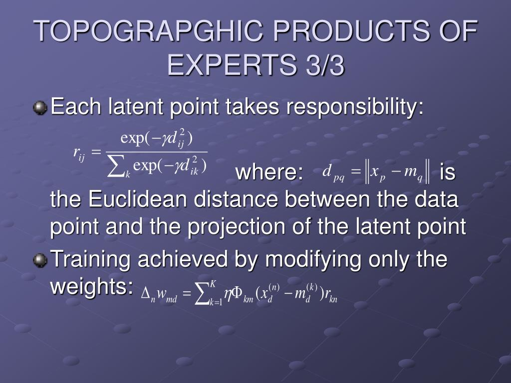 TOPOGRAPGHIC PRODUCTS OF EXPERTS