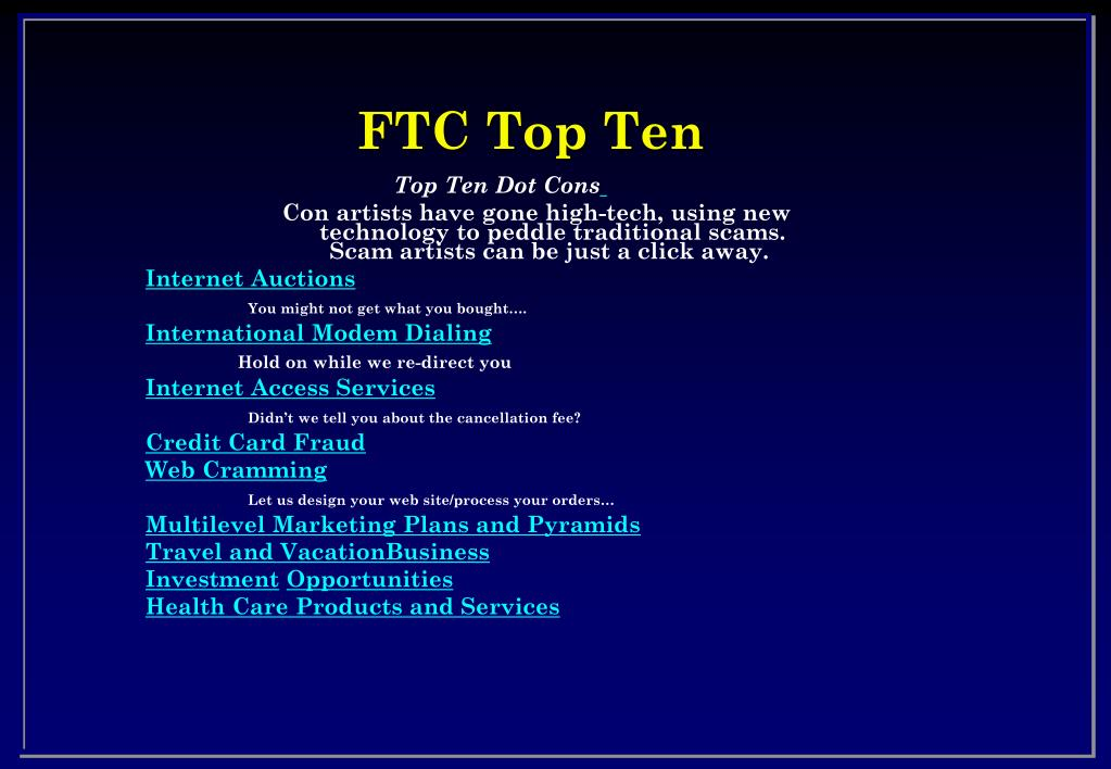 FTC Top Ten