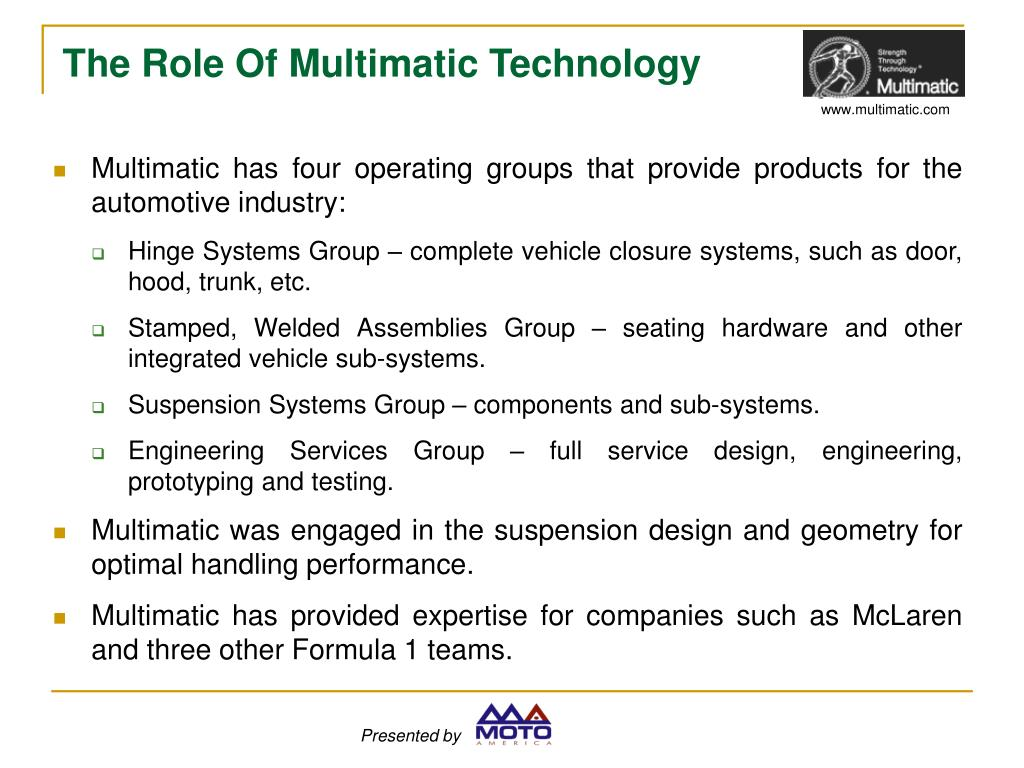 Multimatic has four operating groups that provide products for the automotive industry: