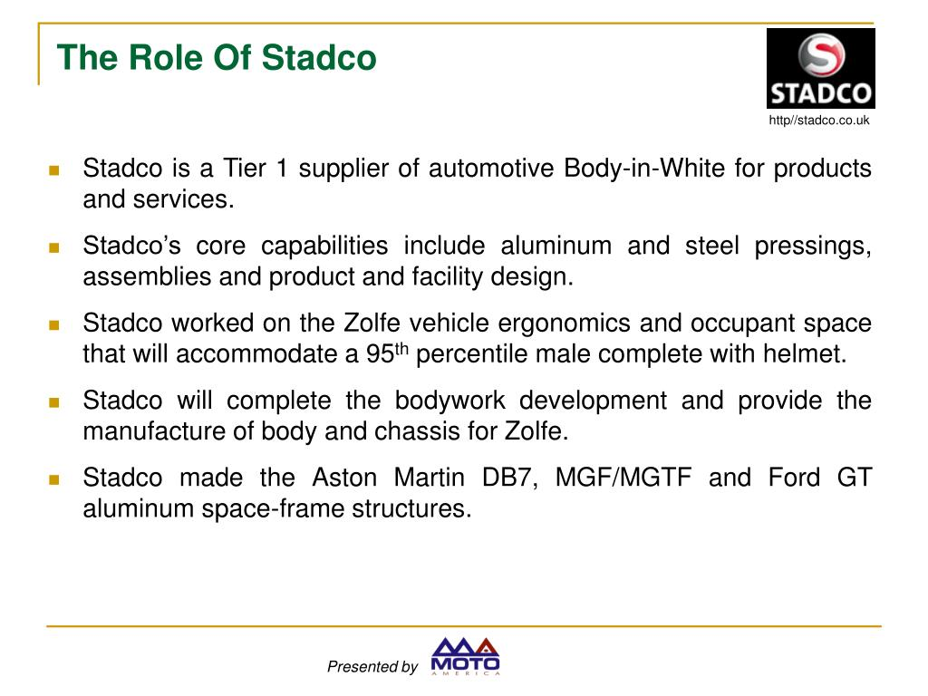 Stadco is a Tier 1 supplier of automotive Body-in-White for products and services.