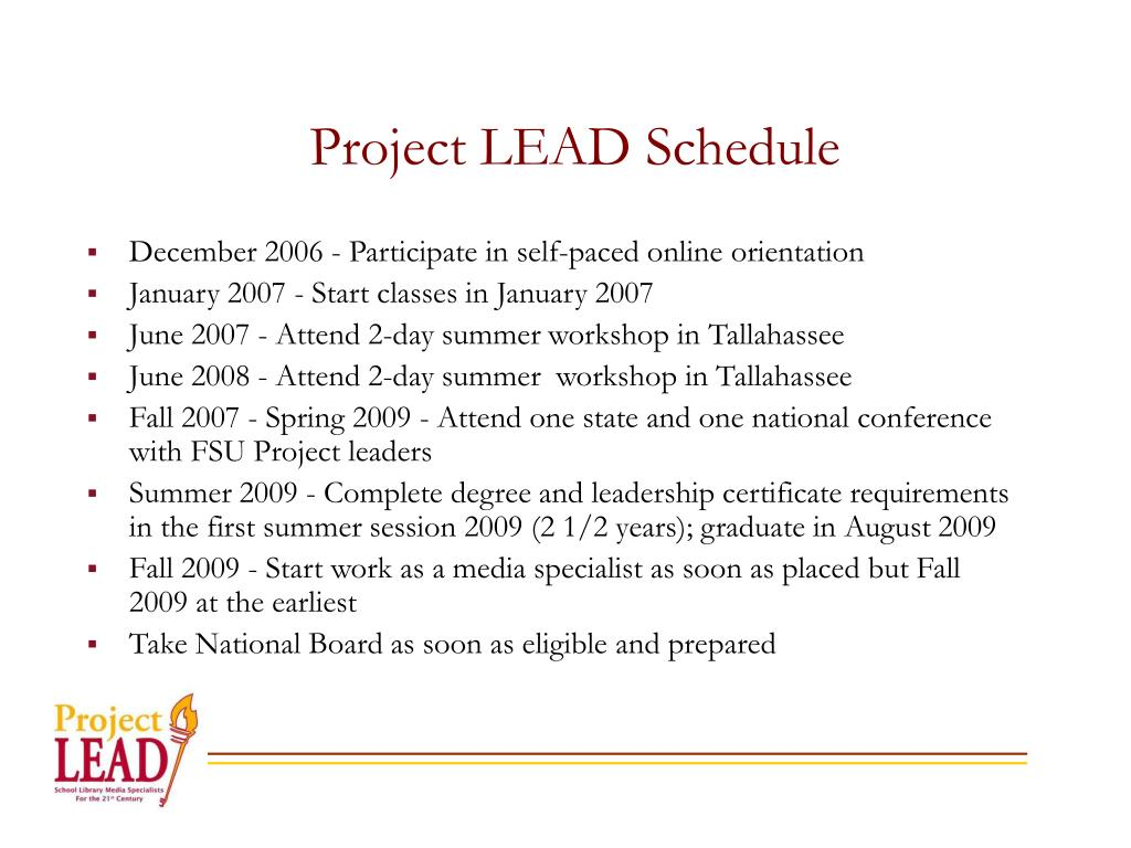 Project LEAD Schedule