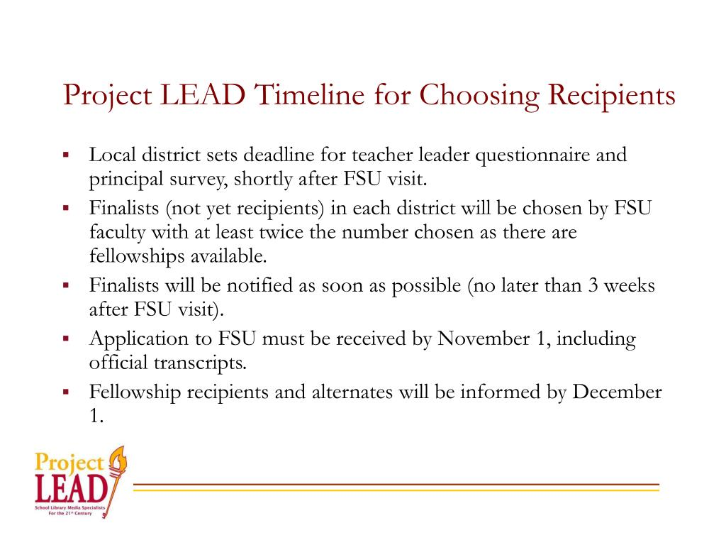 Project LEAD Timeline for Choosing Recipients