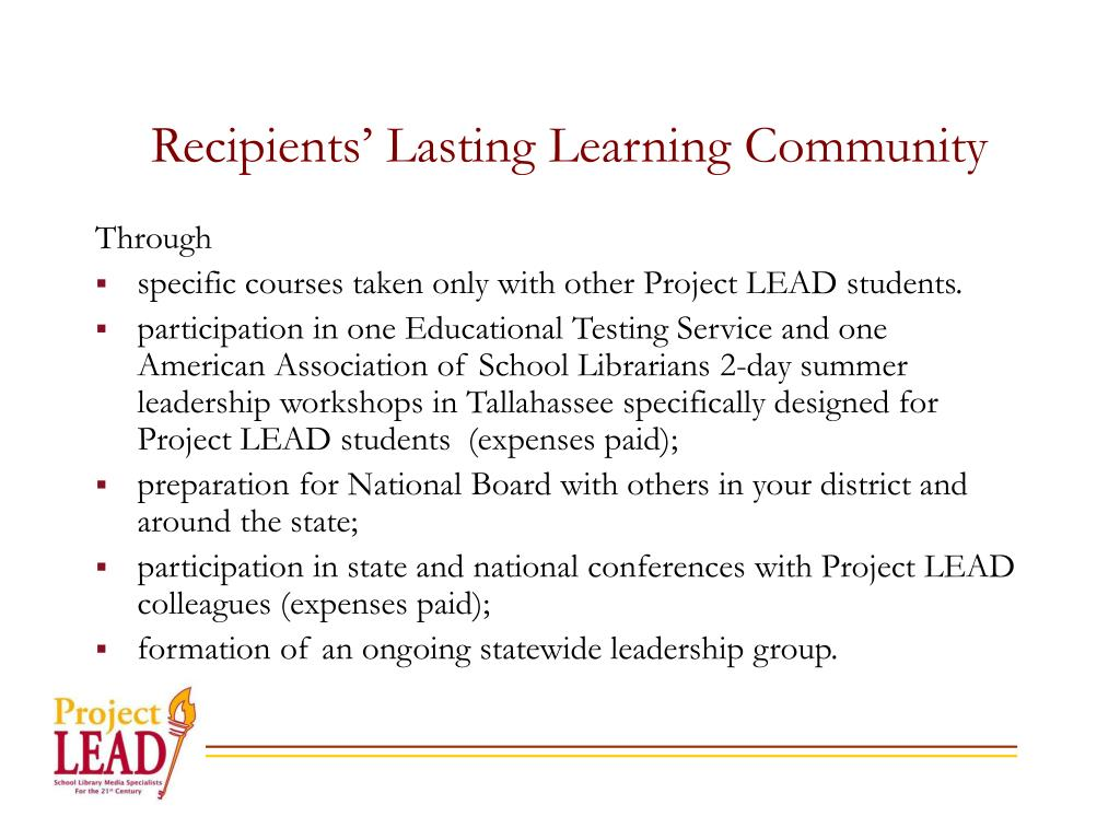 Recipients' Lasting Learning Community
