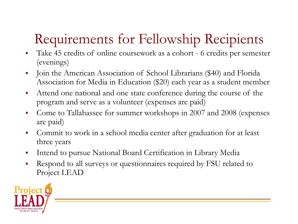 Requirements for Fellowship Recipients