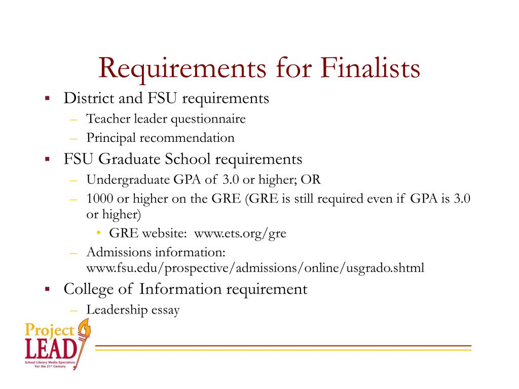 Requirements for Finalists