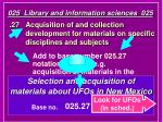 025 library and information sciences 025