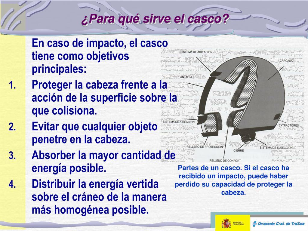 Partes de un casco. Si el casco ha recibido un impacto, puede haber perdido su capacidad de proteger la cabeza.