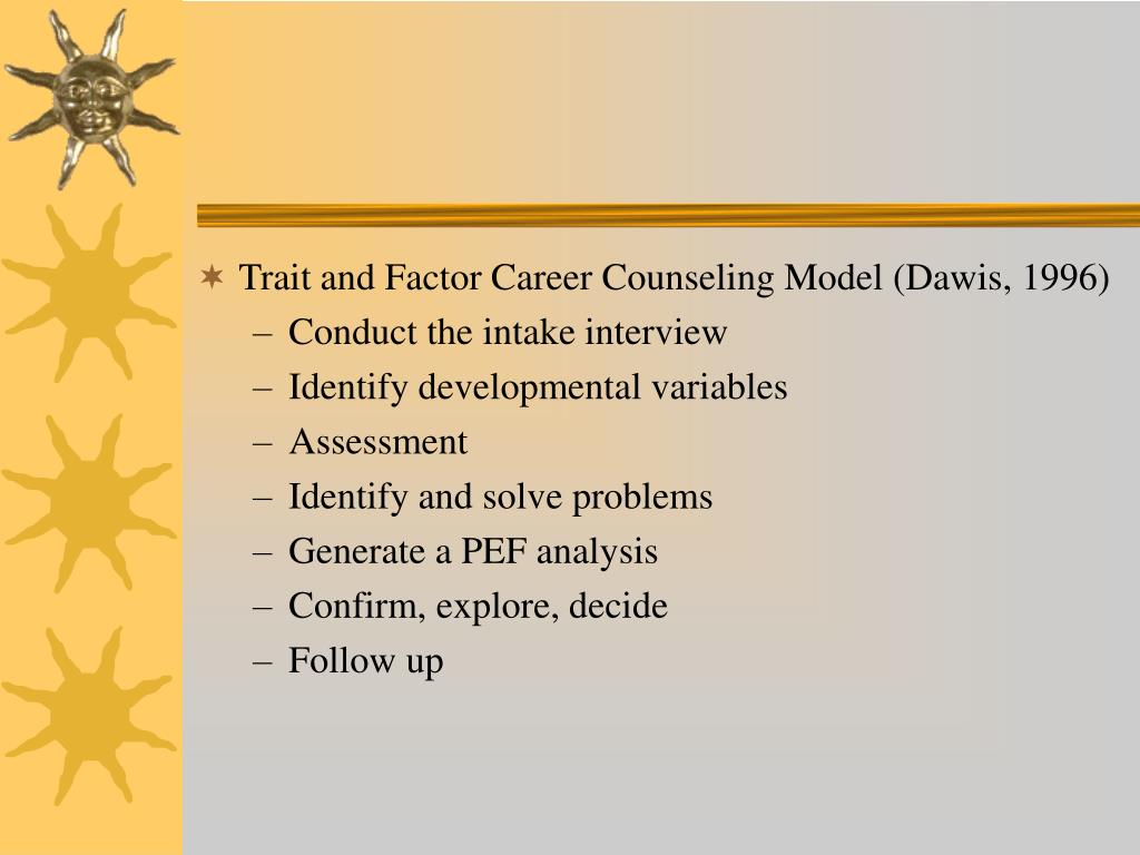 Trait and Factor Career Counseling Model (Dawis, 1996)