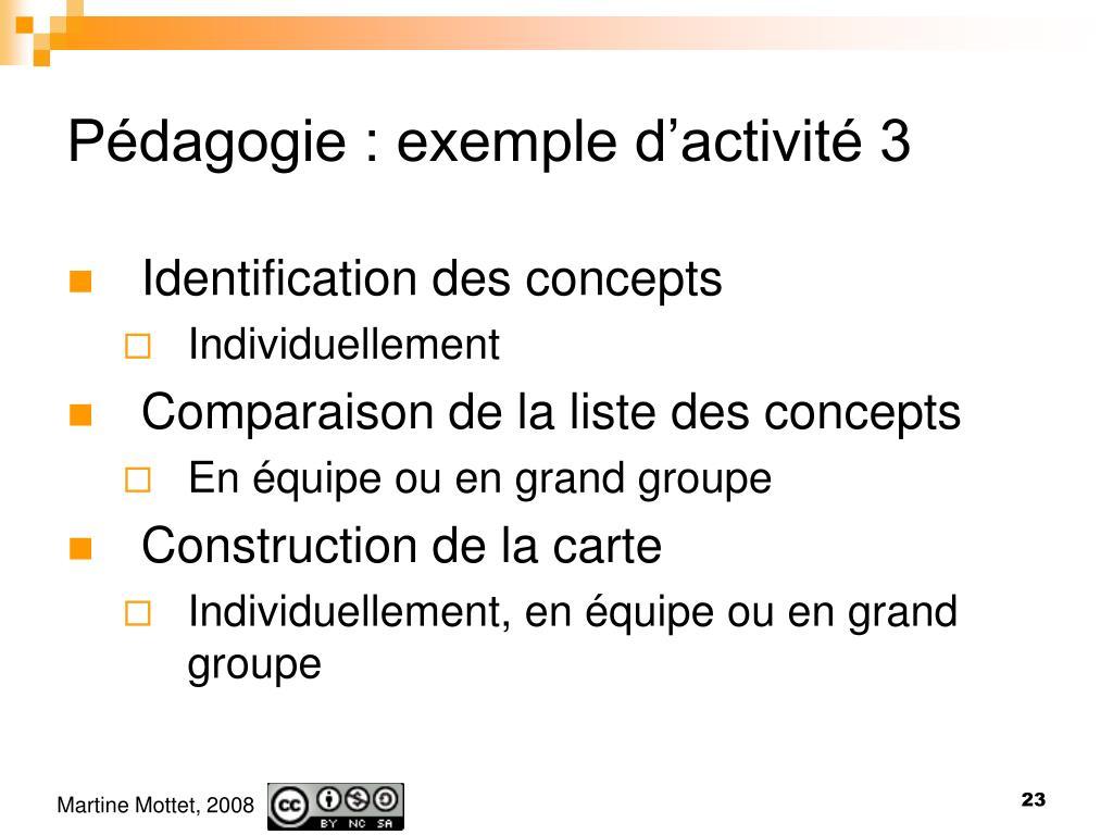 Pédagogie : exemple d'activité 3