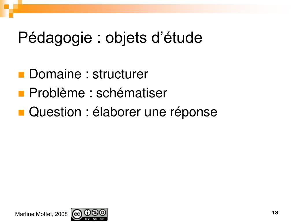 Pédagogie : objets d'étude