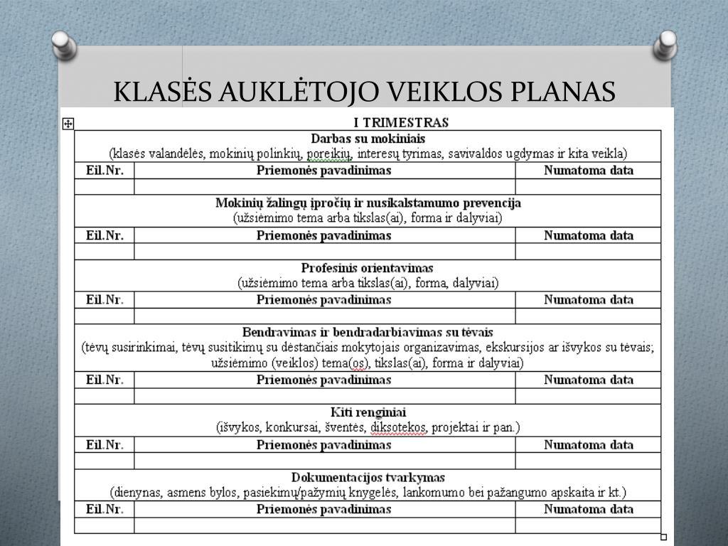 KLASĖS AUKLĖTOJO VEIKLOS PLANAS