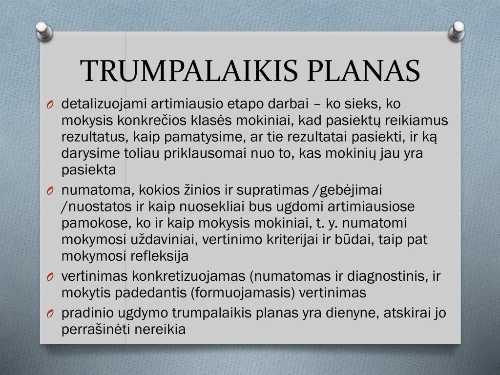 TRUMPALAIKIS PLANAS