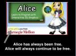 alice has always been free alice will always continue to be free