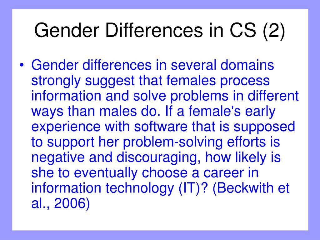 Gender Differences in CS (2)