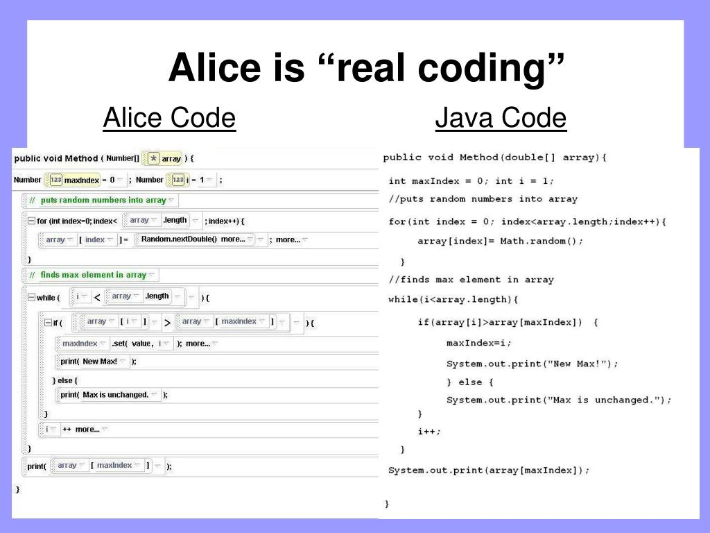 """Alice is """"real coding"""""""
