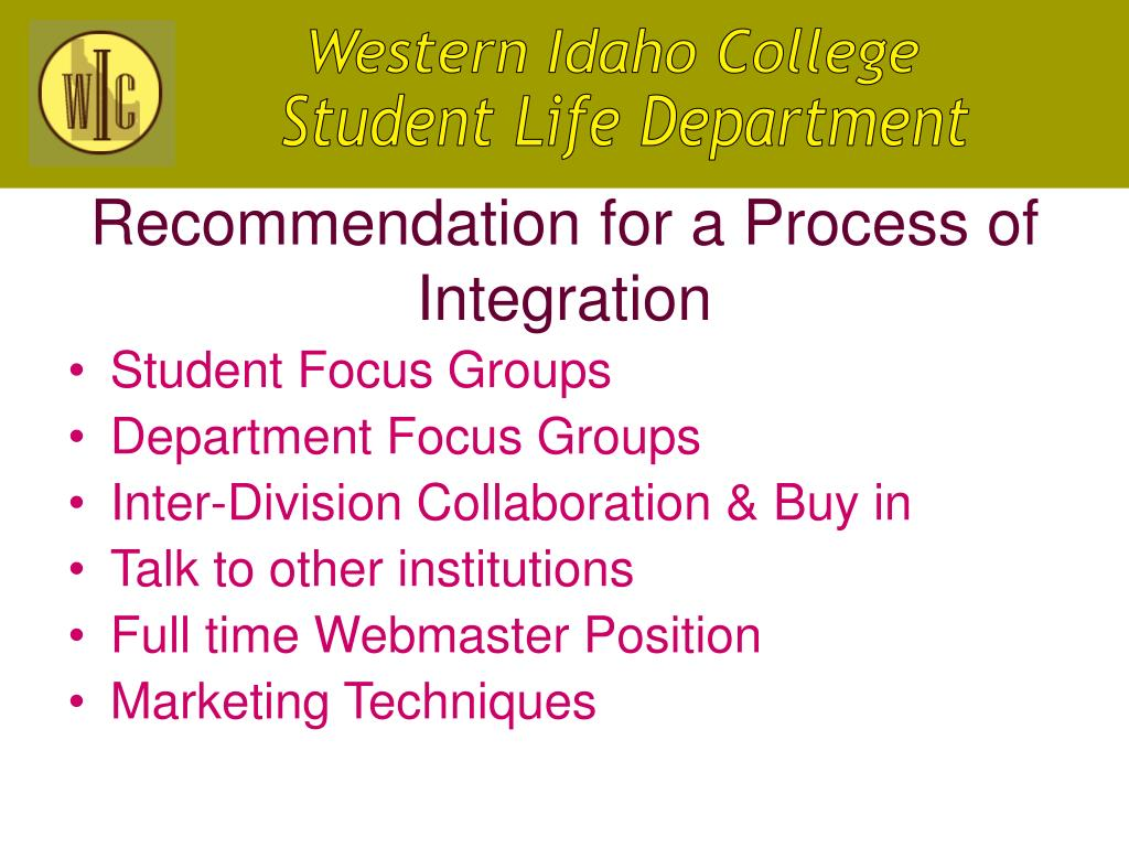 Recommendation for a Process of Integration