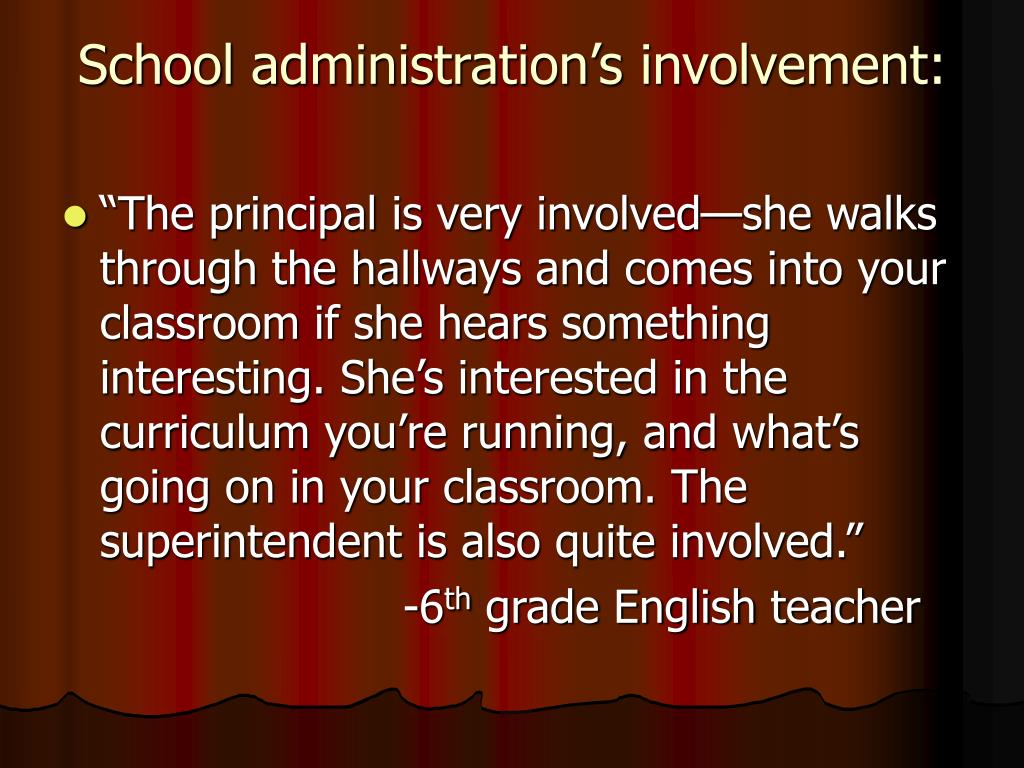 School administration's involvement:
