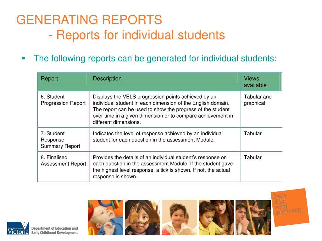 GENERATING REPORTS