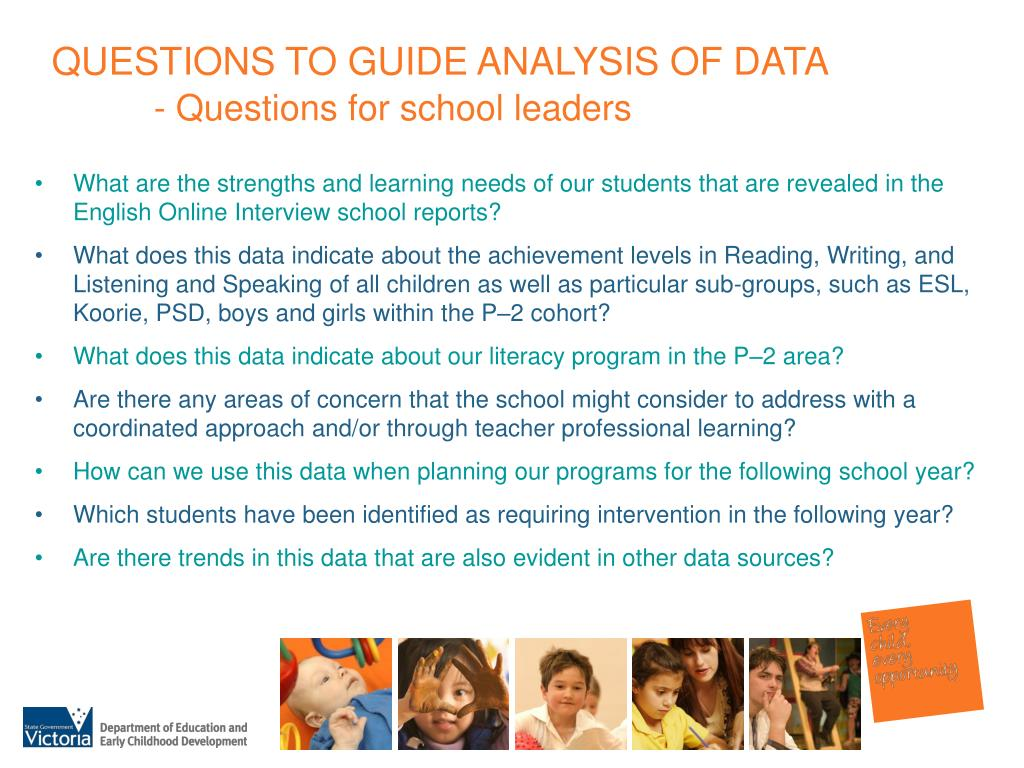 QUESTIONS TO GUIDE ANALYSIS OF DATA