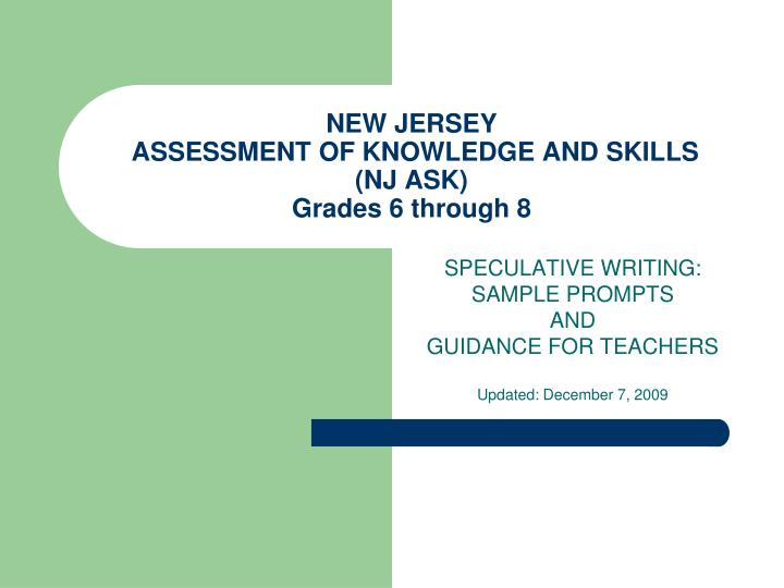 New jersey assessment of knowledge and skills nj ask grades 6 through 8
