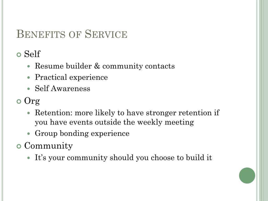 Benefits of Service