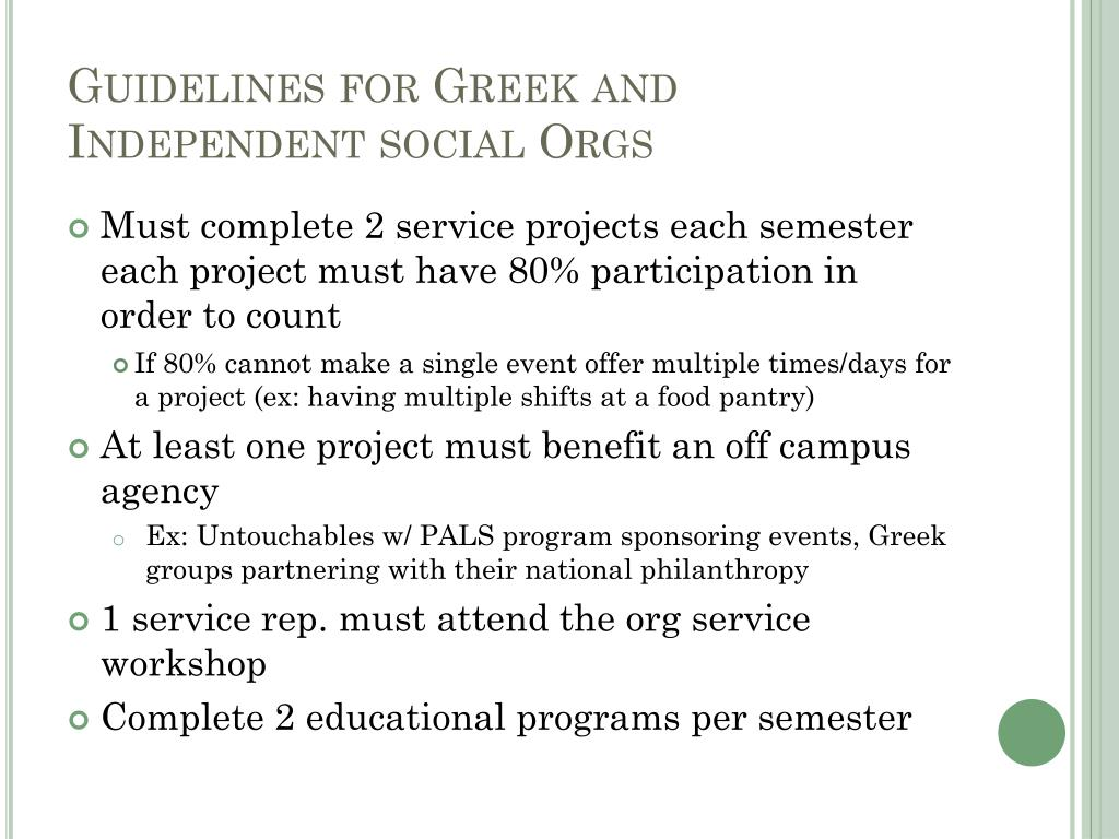 Guidelines for Greek and Independent social Orgs