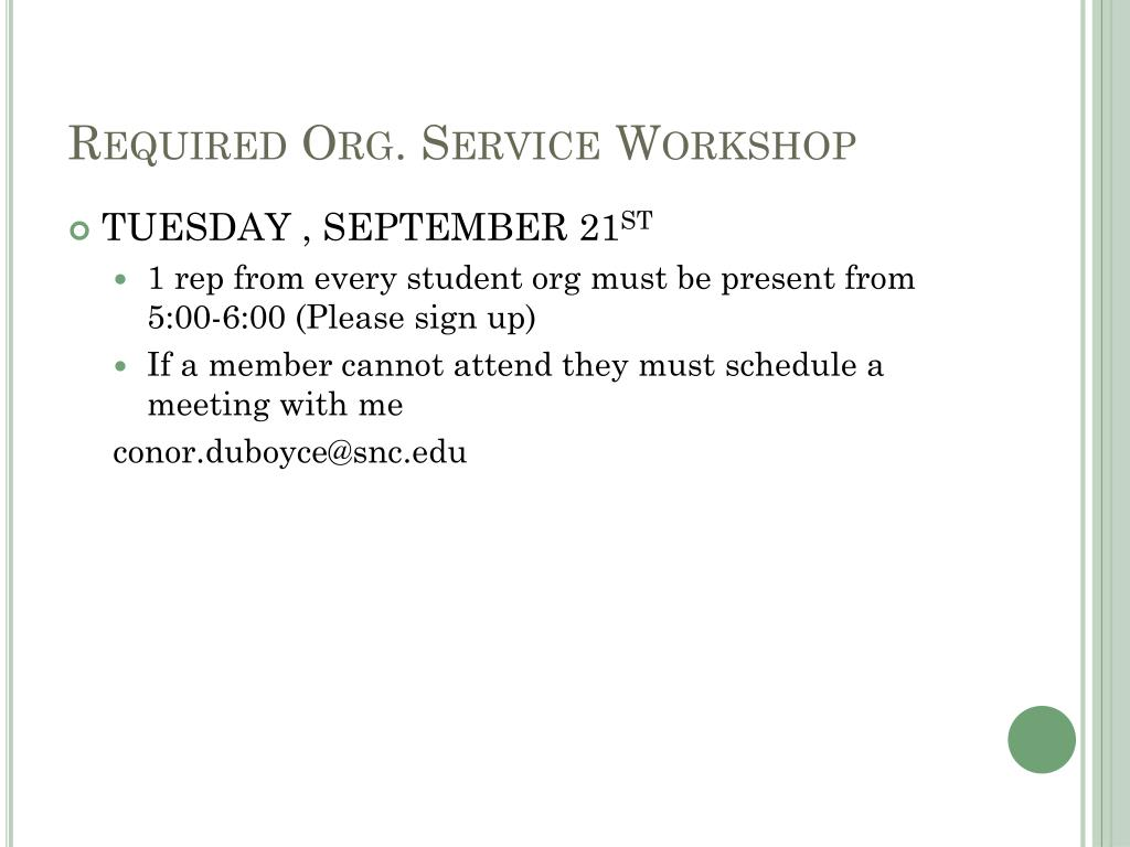 Required Org. Service Workshop