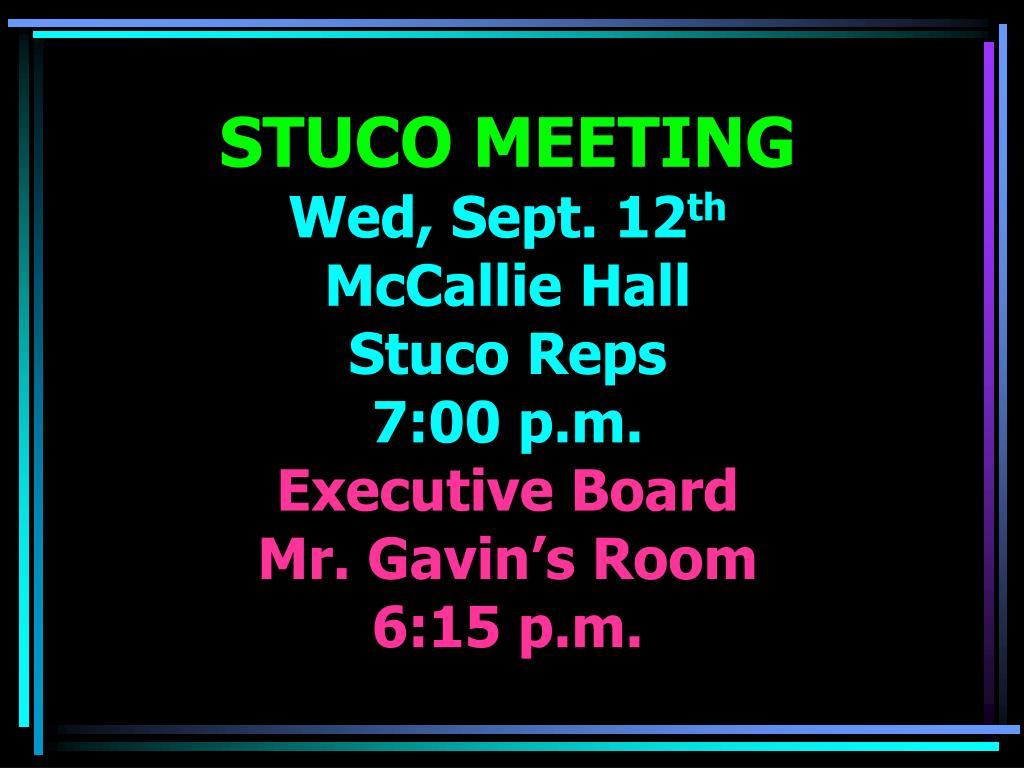 STUCO MEETING