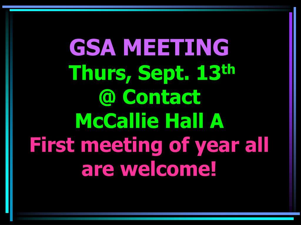 GSA MEETING