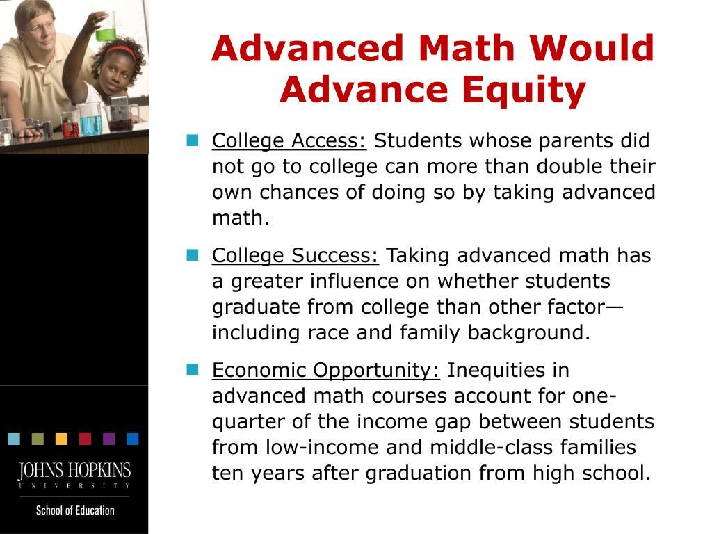 Advanced Math Would Advance Equity