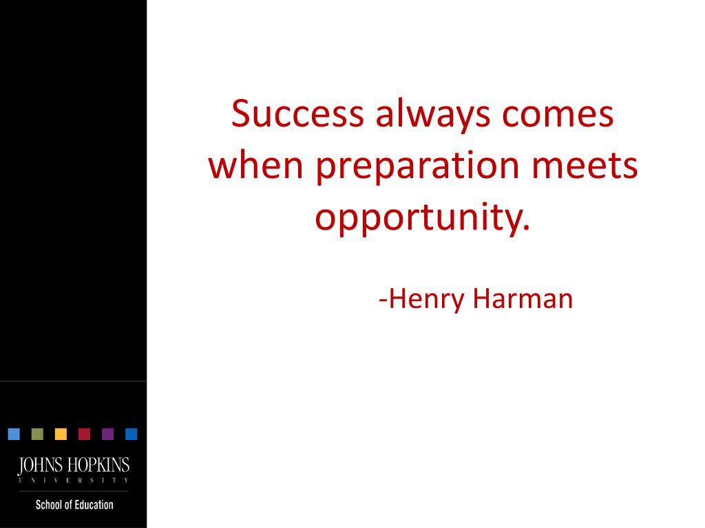 Success always comes when preparation meets opportunity.