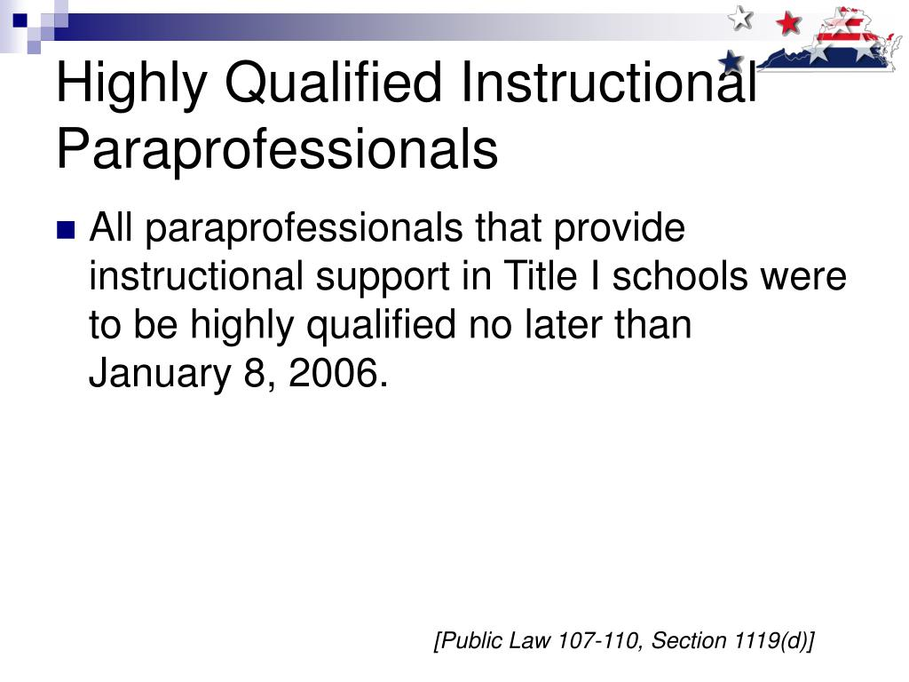 Highly Qualified Instructional Paraprofessionals