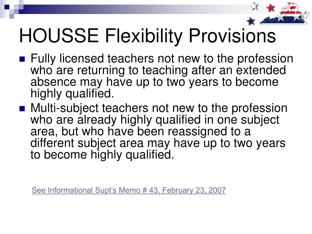 HOUSSE Flexibility Provisions