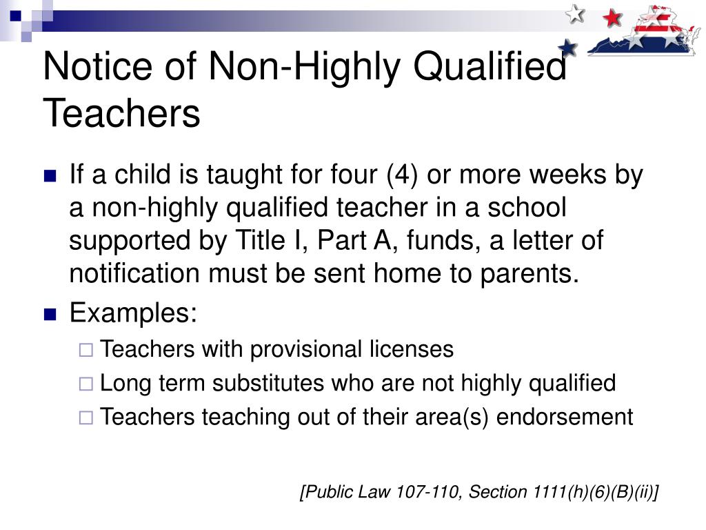 Notice of Non-Highly Qualified Teachers
