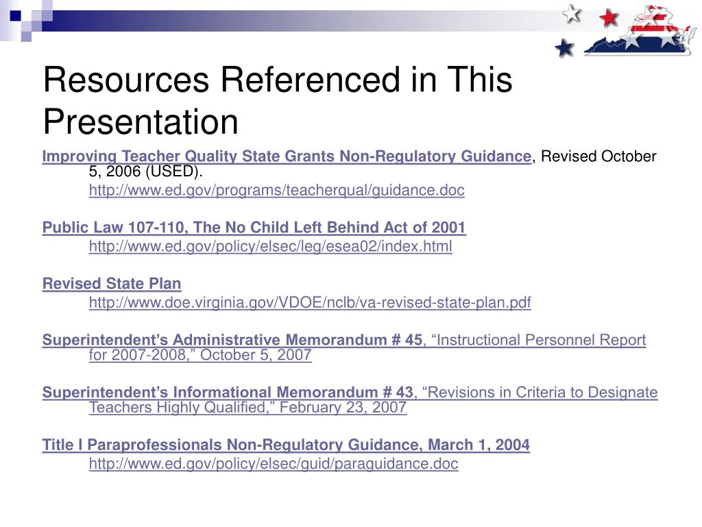 Resources Referenced in This Presentation