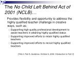 the no child left behind act of 2001 nclb