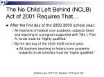 the no child left behind nclb act of 2001 requires that