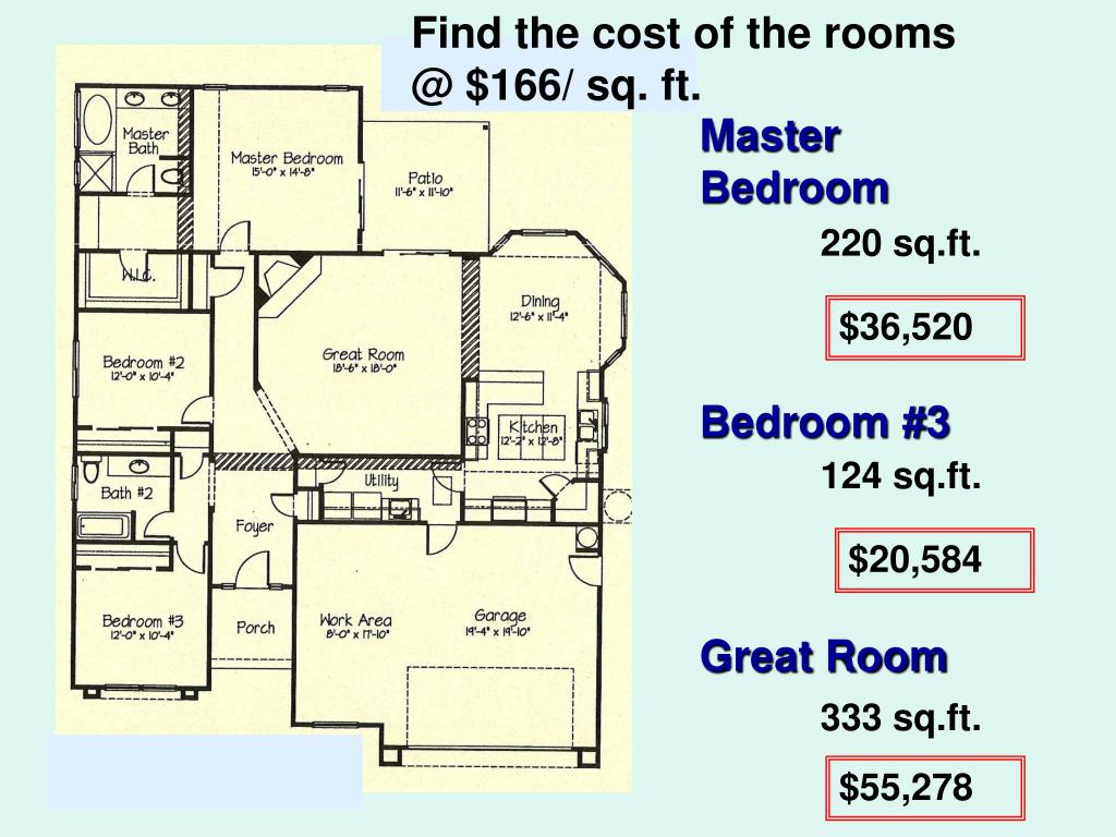 Find the cost of the rooms @ $166/ sq. ft.