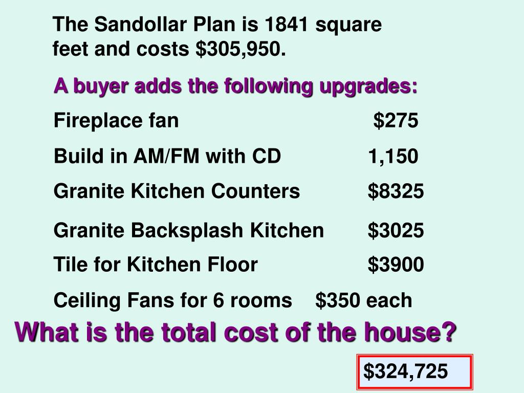 The Sandollar Plan is 1841 square feet and costs $305,950.